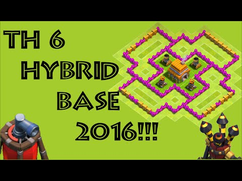 Townhall 6-best Hybrid Base-2016-clash Of Clans!!!(coc Th6 Hybrid Base)