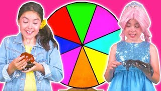 SPIN THE WHEEL GAME 🌀 Magic Gummy Candy Color Machine! - Princesses In Real Life | Kiddyzuzaa