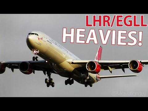 Winter Plane Spotting Session at Heathrow Airport - Rush Hour Heavies Landings A380 747 777 A340