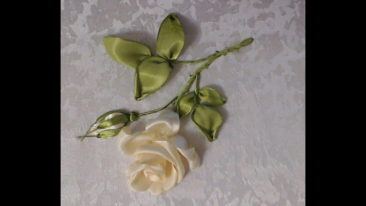 Вышивка ленты листья розы
