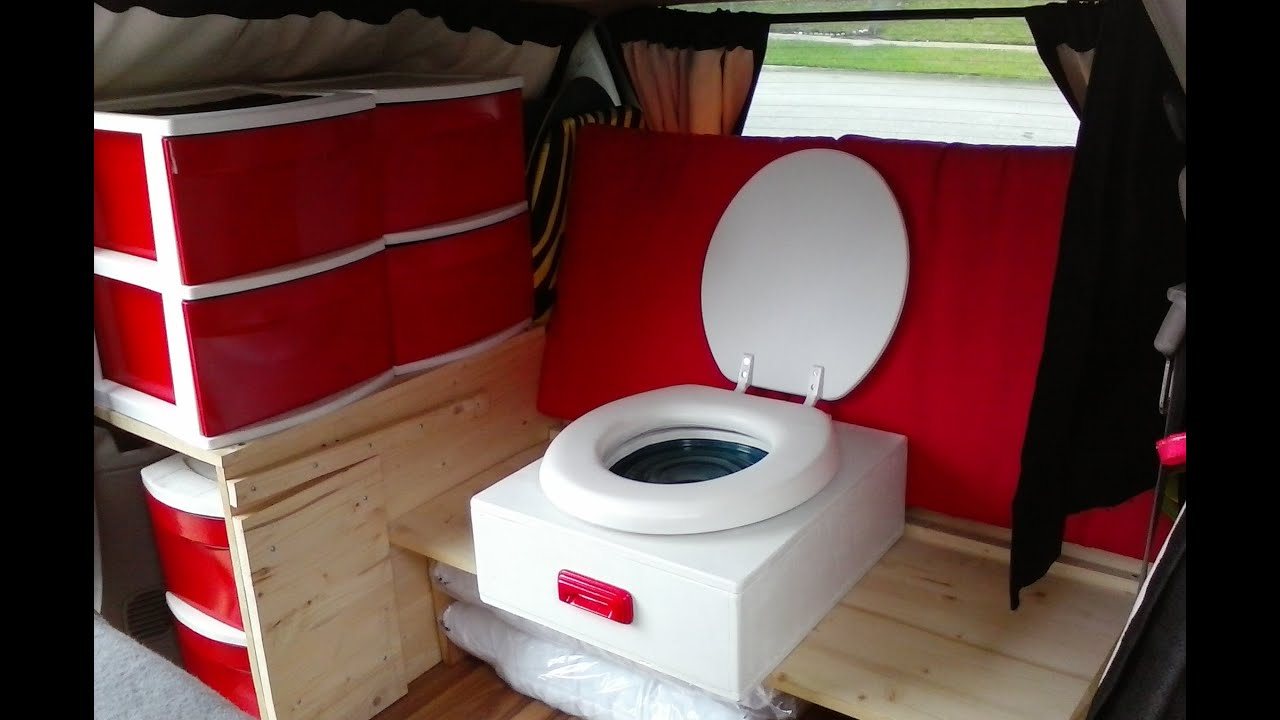 E14 Stealth Minivan Camper Conversion Custom Toilet