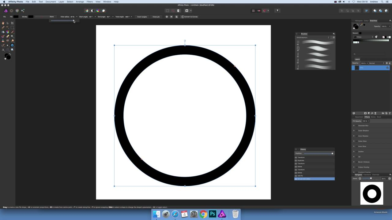Create hollow black circle / ring in Affinity Photo (Basic) tutorial
