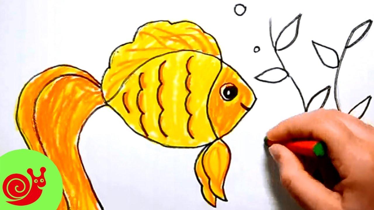 Рисуем мультяшную рыбку детский развивающий урок рисования для малышей