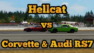 Dodge Challenger Hellcat takes on a Corvette Z06 and Audi RS7