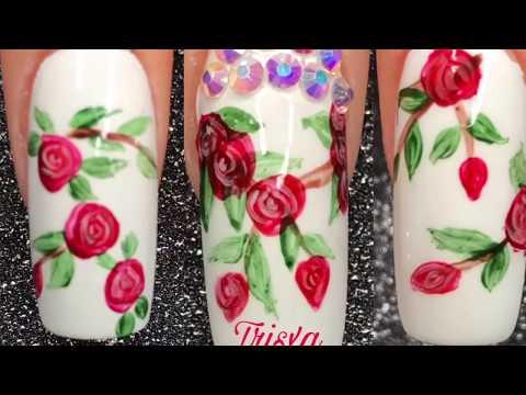 EASY Red Roses Nail Art Tutorial Using Acrylic Paint   TrisXa