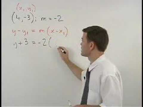 Point Slope Form Mathhelp Algebra Help Youtube