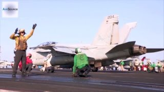 Air Strike On ISIS - Flight Deck Operations Aboard U.S. Aircraft Carrier