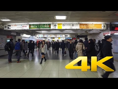 Walking around in Shinjuku Station - Tokyo - 新宿駅 - 4K Ultra HD 🗼 🇯🇵