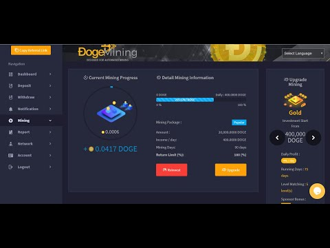 LIVE DEPOSIT AND WITHDRAW - BEST CLOUD MINING DOGECOIN - UPGRADE INVESTMENTS PLAN 20.000 DOGECOIN