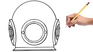 How to Draw a Diving Helmet
