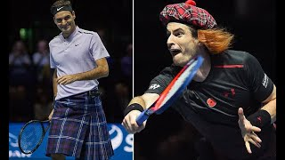 Roger Federer edges out Andy Murray while wearing a kilt