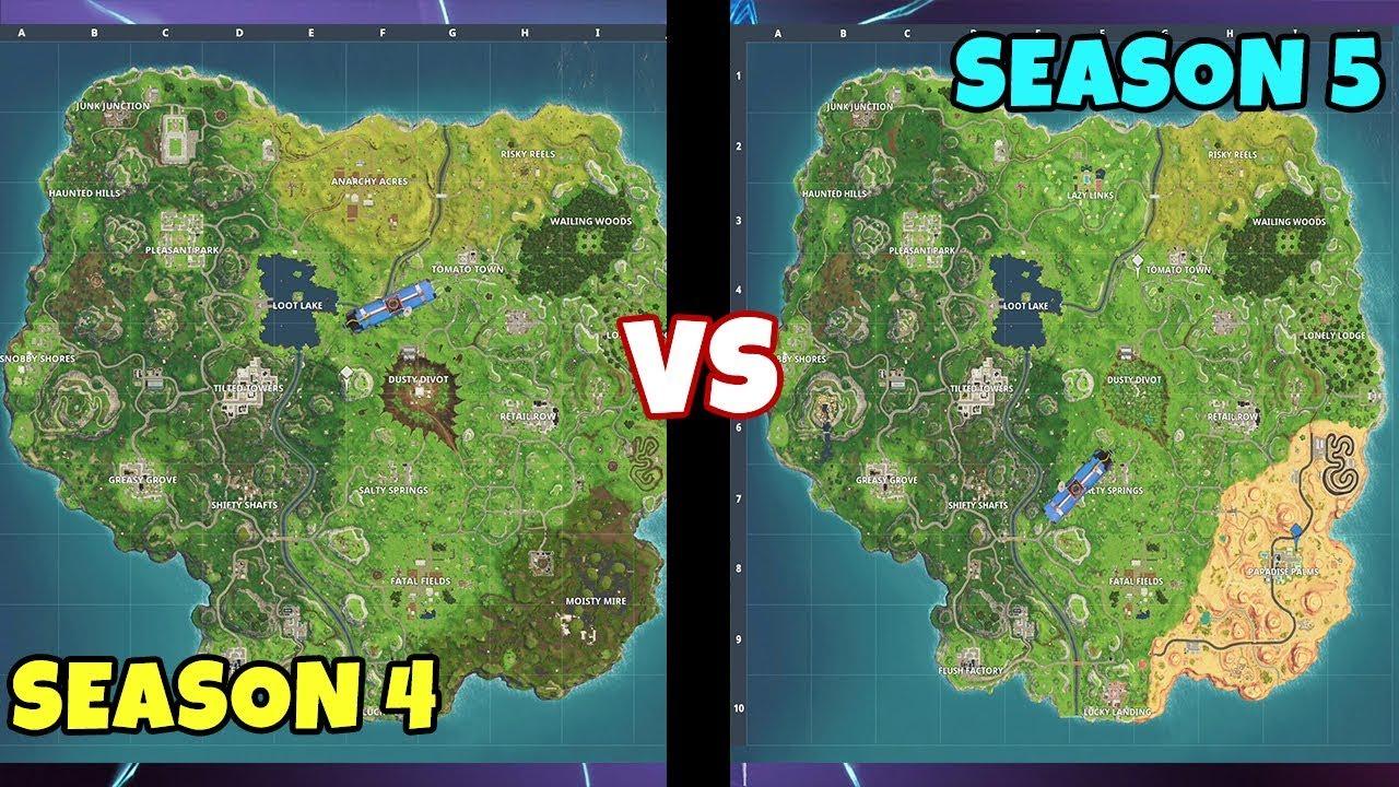 fortnite season 5 vs season 4 map new lazy links paradise palms - nouvelle map fortnite saison 5