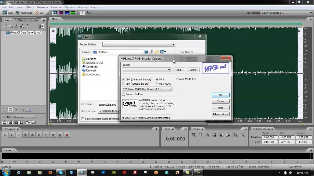 how to change mp3 bitrate upon export on adobe audition 3. Black Bedroom Furniture Sets. Home Design Ideas