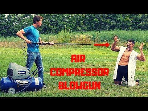 Shot by an AIR COMPRESSOR POWERED BLOWGUN Experiment | Cold Steel Big Bore Dart Gun Damage Test