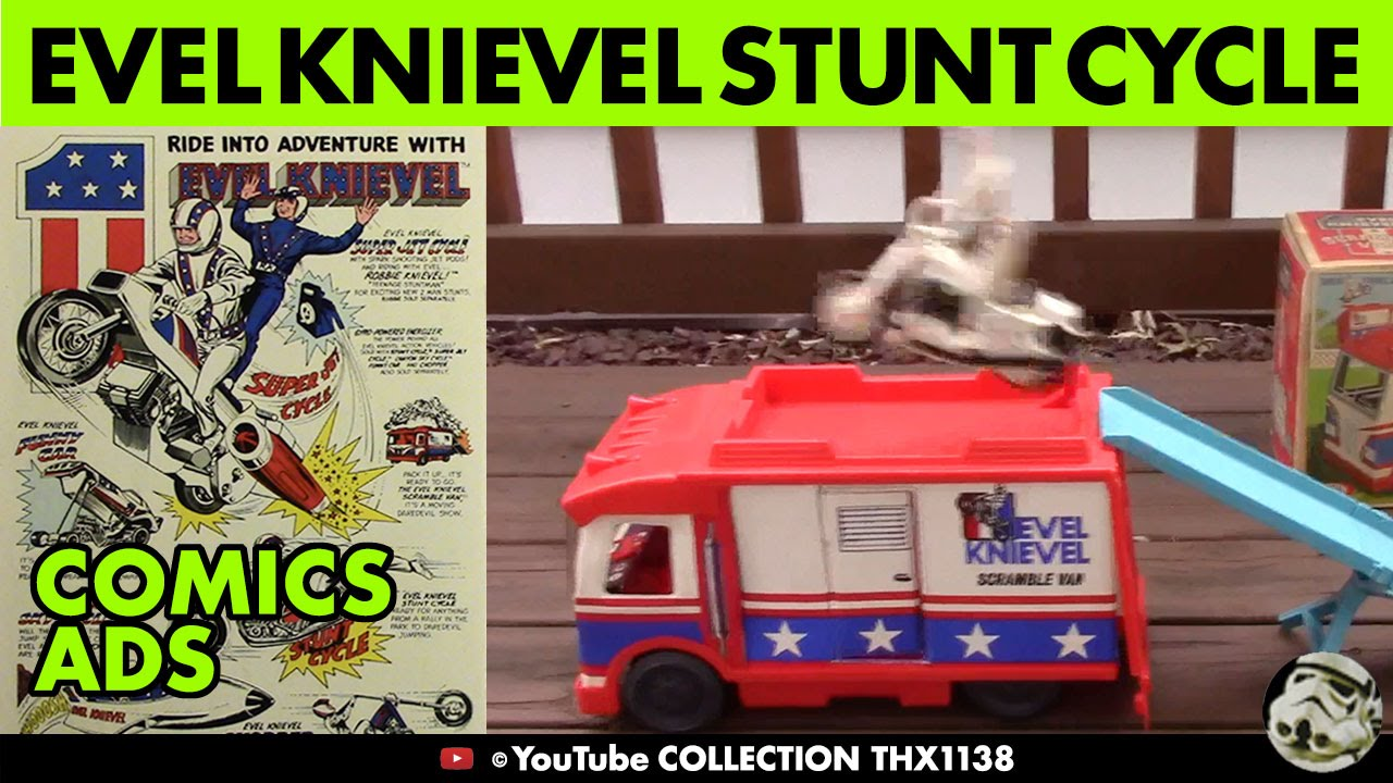 Vintage Evel Knievel In His: EVEL KNIEVEL STUNT BIKE SUCCESS & CRASHES Scramble Van And