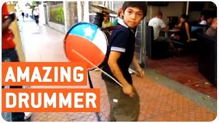 Incredible Street Performing Kid | Little Drummer Boy
