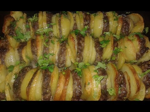 gratin-de-pommes-de-terre-et-keftaغراتان-البطاطة-و-الكفتة
