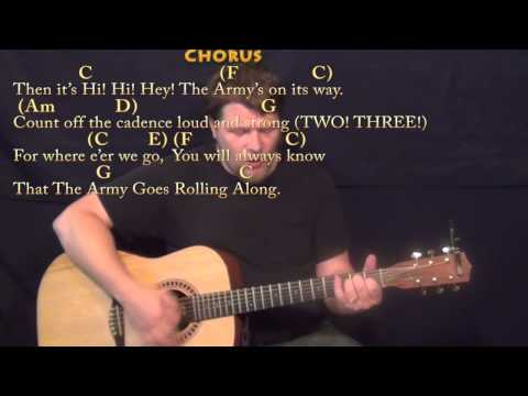 The Army Goes Rolling Along (US Army Song) Strum Guitar Cover Lesson in C with Chords/Lyrics