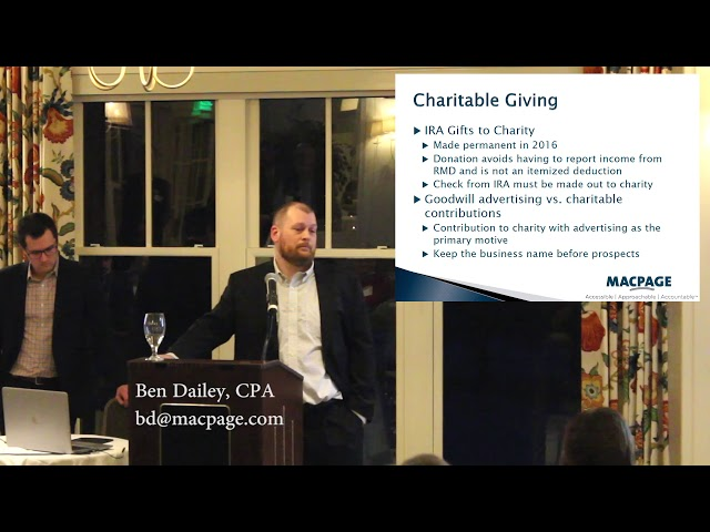 2018 Tax Reform – Charitable Giving