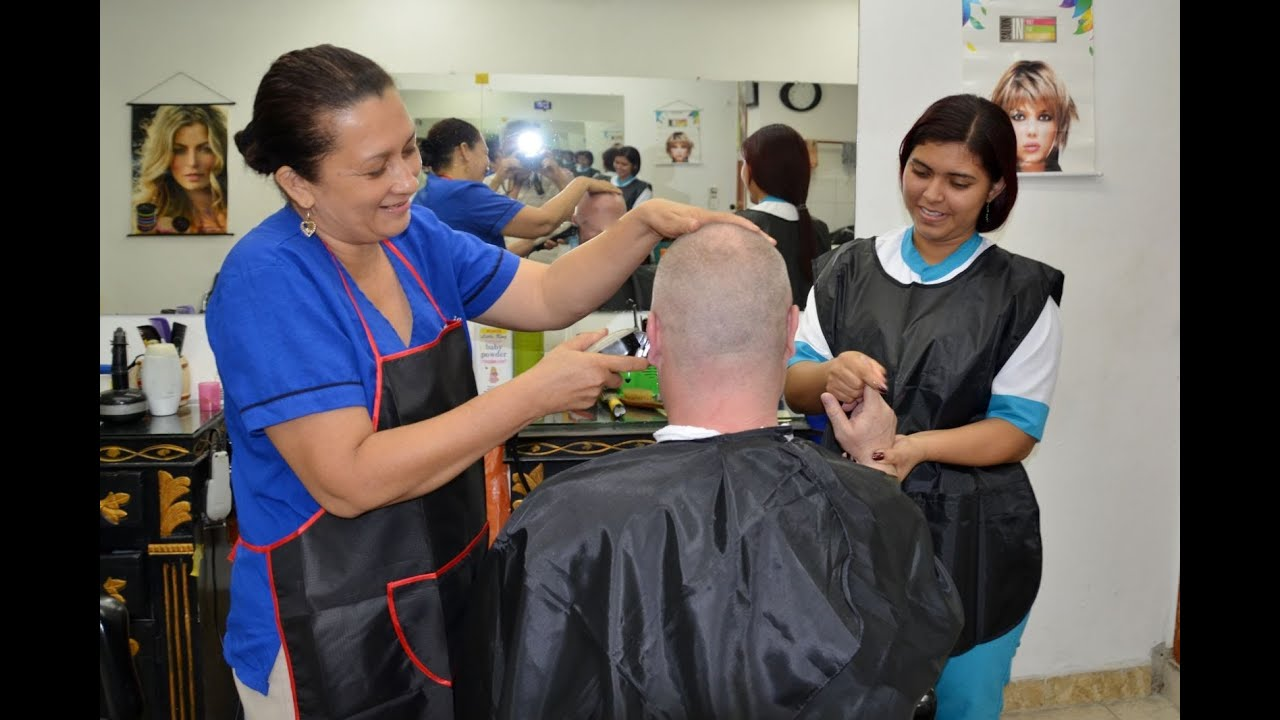 Relax in colombian female barber shop - YouTube