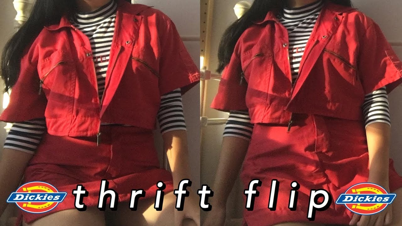 UPCYCLING a dickies jumpsuit into a two piece TOP + SKIRT set ? // THRIFT FLIP 3