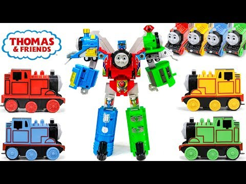 RED GREEN BLUE YELLOW COLOR Thomas&Friends OneTouch Bumper Train Robot SuperThomas Triple Combine