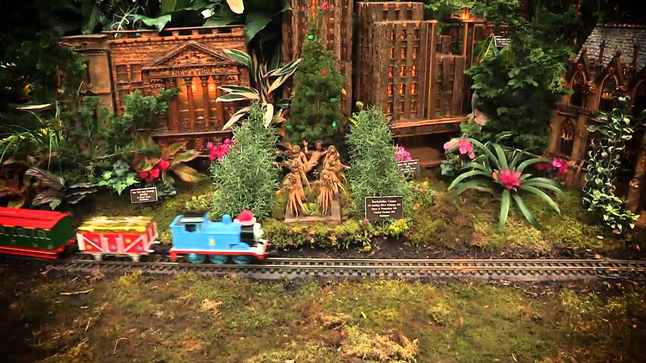 Museum exhibition in New York showing holiday train