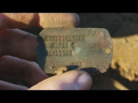 Metal detecting WW2 15-02-2015 Army dump Dog Tags!