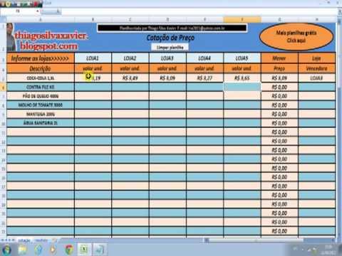 Planilha Grátis Cotação De Preço