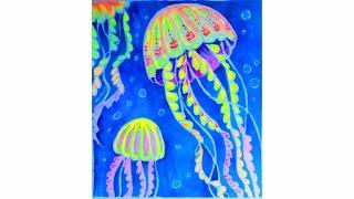Уроки рисования. Как нарисовать МЕДУЗ (морская тематика) неоновой акварелью | Art School