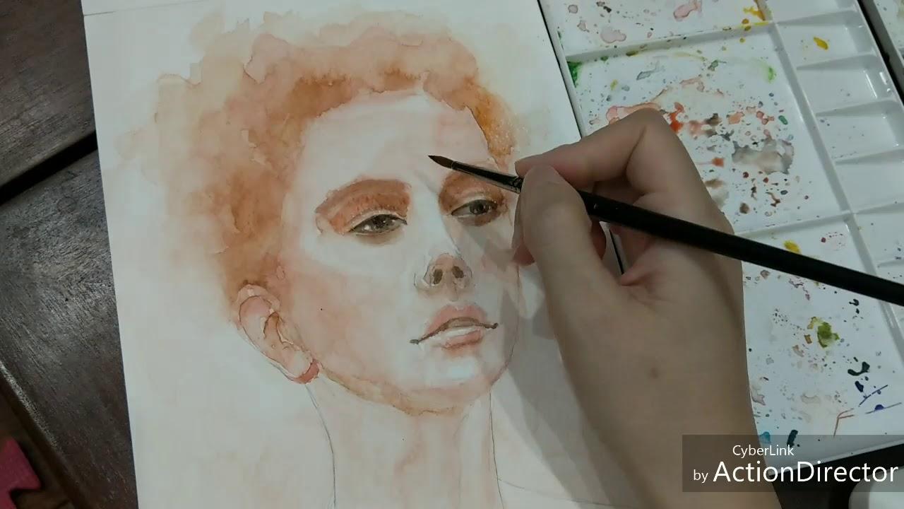 Watercolor painting | Vẽ chân dung màu nước 04
