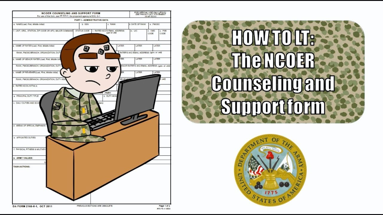 How to complete da form 2166-8-1 ncoer counseling and support.