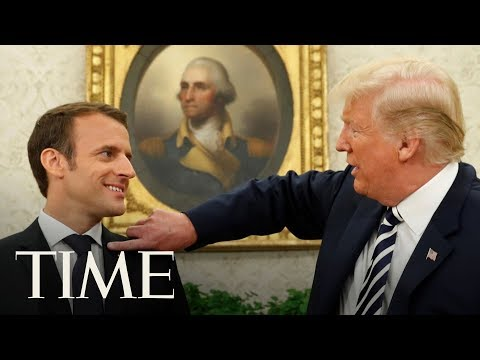 Trump Brushes 'Dandruff' Off French President Macron's Suit As Two Leaders Tussle Over Iran | TIME