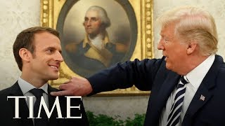 Trump Brushes 'Dandruff' Off French President Macron's Suit As Two Leaders Tussle Over Iran   TIME