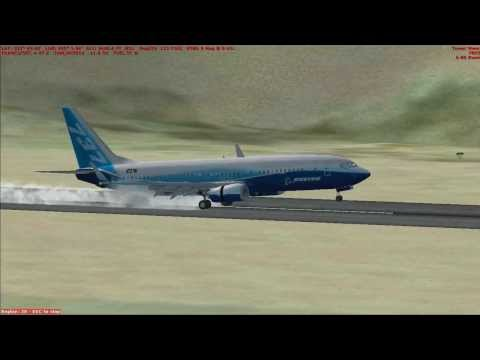 FSX - B737-800 Dangerous Landing on Kasane Airport Botswana (FBKE)