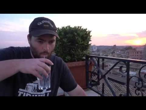 Rome, Italy - Sunset View from Hotel Colosseum Rooftop Terrace with Caipirinha and Gin & Tonic