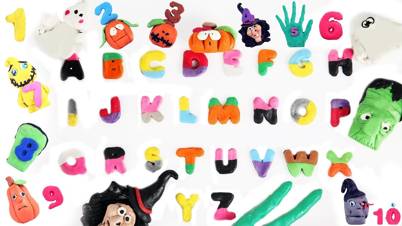 Learn ABC With Play Doh Colors Numbers for Kids Halloween Videos ...
