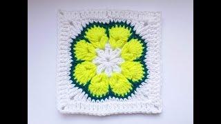 Kwadrat na szydełku Afrykański Kwiat, African Flower