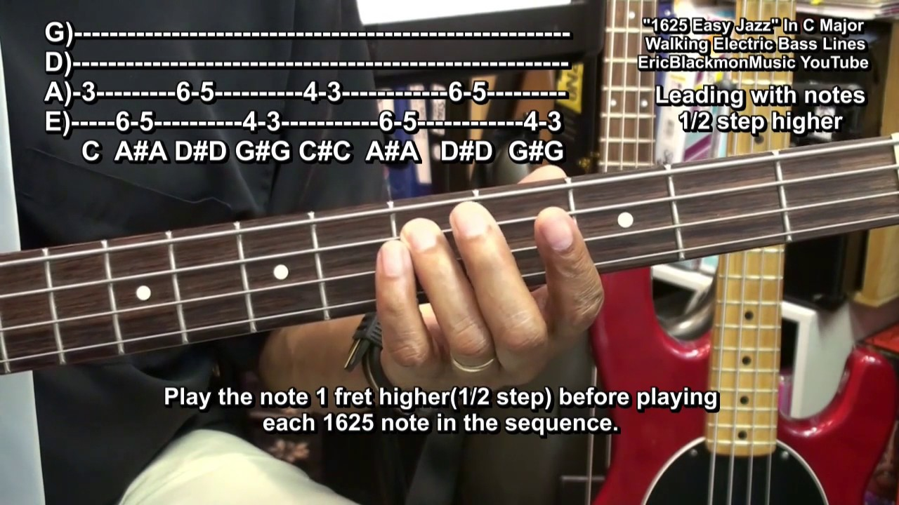how to play amazingly easy 1625 jazz walking bass guitar jazz lines riffs ericblackmonguitar. Black Bedroom Furniture Sets. Home Design Ideas