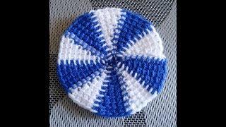 Цветной круг тунисским крючком