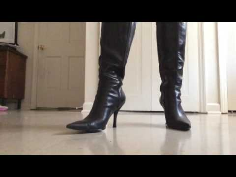 .::ASMR::. Pointed black leather boots (click clacking, and swishing sounds)