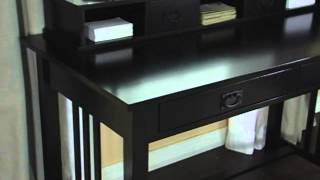 Mission Writing Desk With Hutch Black - Product Review Video