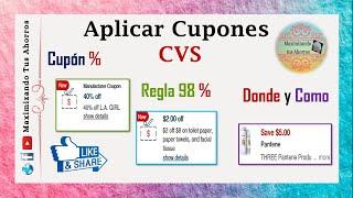 CVS Principiantes Como Aplicar Cupones %, Regla del 98% y más