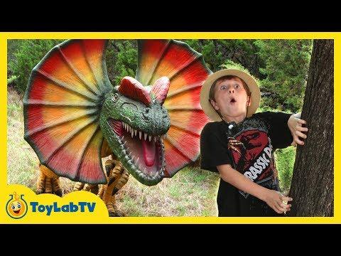 JURASSIC QUEST FOR GIANT DINOSAURS! Dinosaur Adventure IRL w/ Kid Driving Ride On ATV Car, Dino Toys
