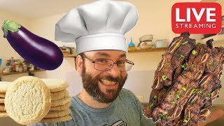 Korean Style Short Ribs, Fried Eggplant, & Sugar Cookies! | September 15th Cooking Live Stream