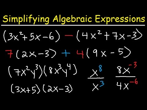 Simplifying Algebraic Expressions With Parentheses & Variables ...