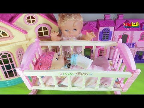 لعبة سرير الطفل البيبي مع الببرونة 🍼  العاب العرائس والدمى للأطفال  للأولاد والبنات