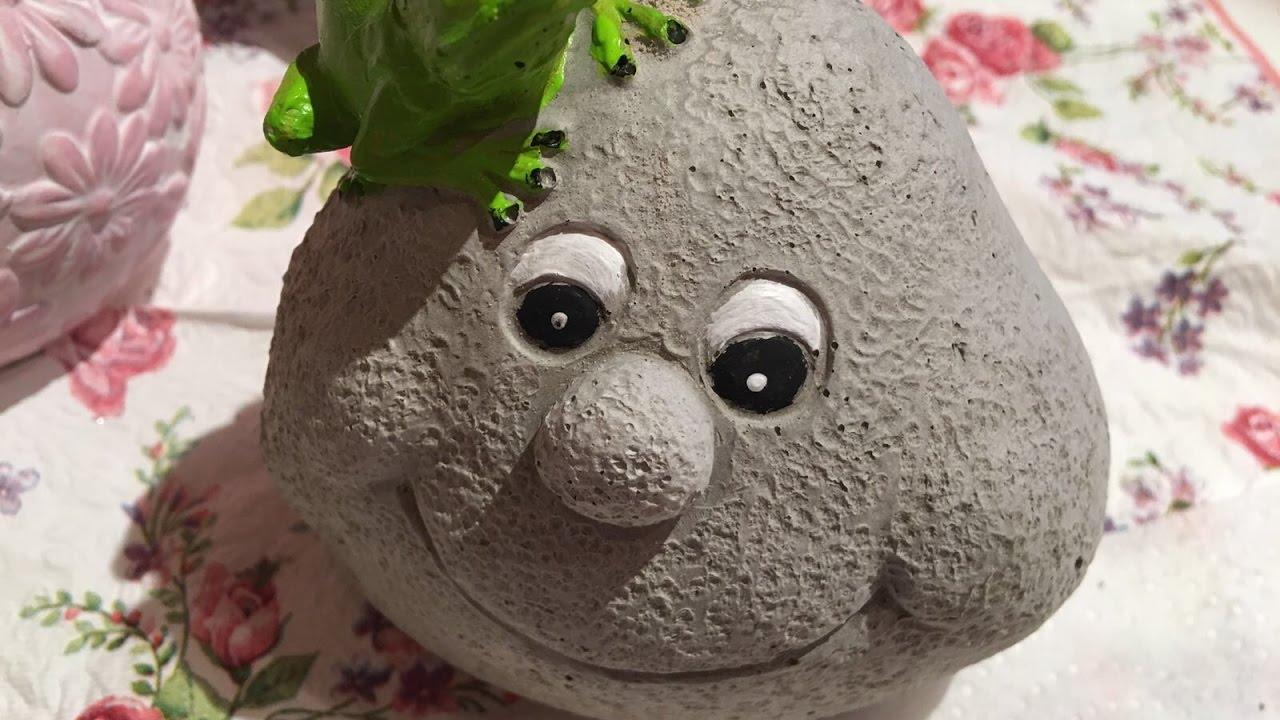 Süßes Garten Stein Gesicht selbstgemacht 😀 - YouTube