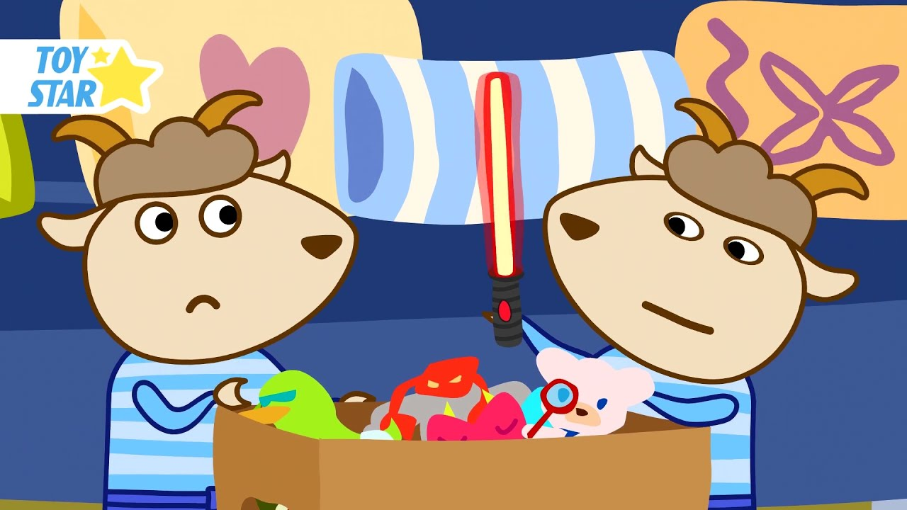 The twin brothers found toys. Lightsaber! Cartoon for Kids