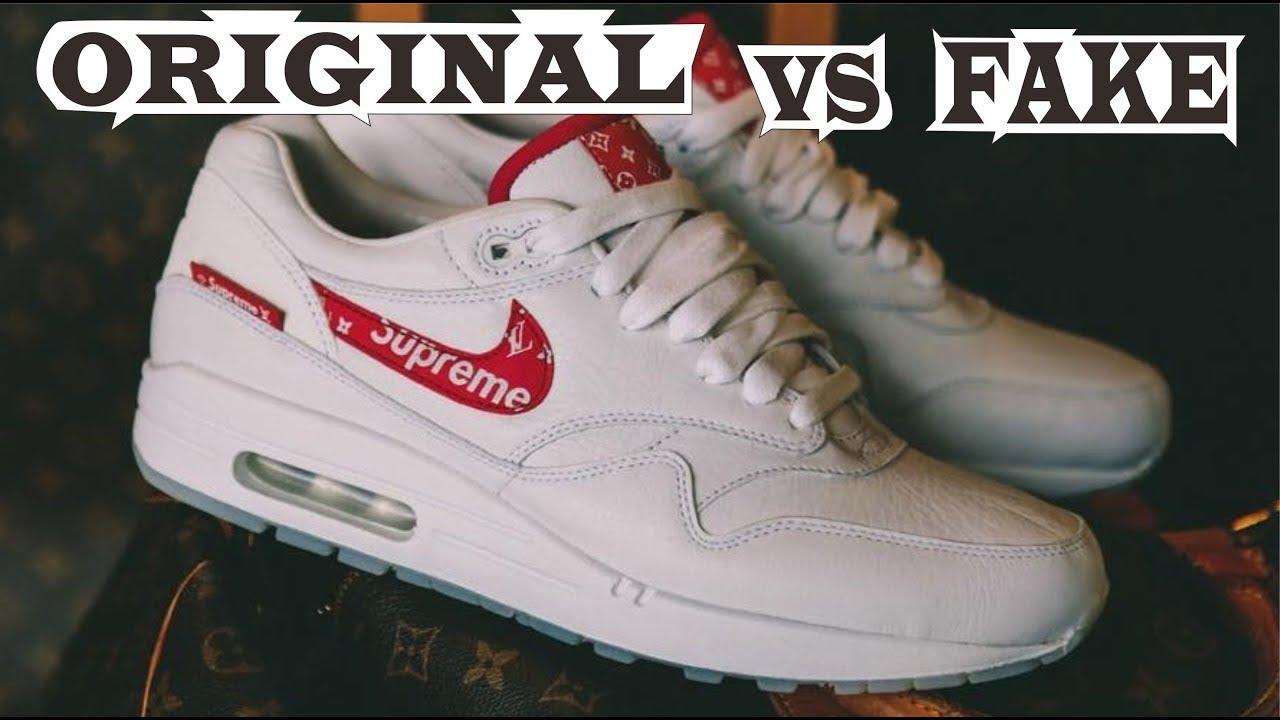 puramente único revolución  Nike Air Force 1 x Supreme x LV Louis Vuitton Original & Fake - YouTube